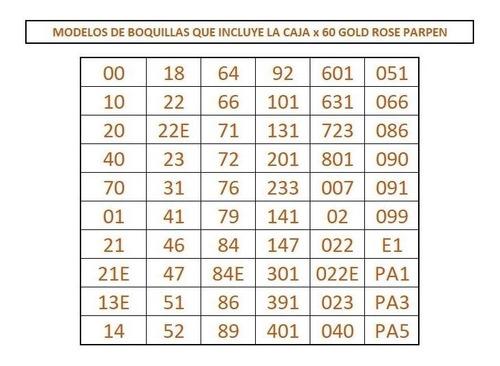 caja con 60 boquillas rose gold parpen (ed limitada)