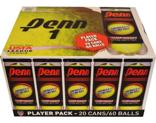 caja con 60 pelotas de tenis penn 20 botes