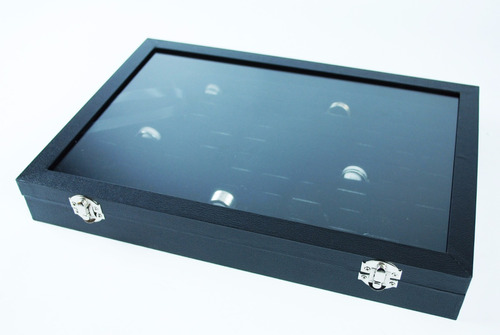 caja con tapa de vidrio exhibidor para 100 anillos