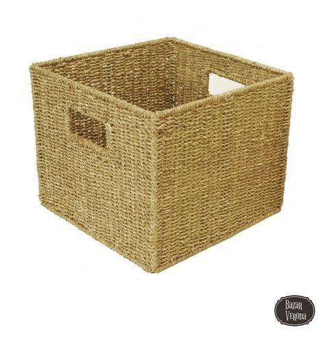 caja cubo baño cocina living organizador seagrass 30 x 30cm