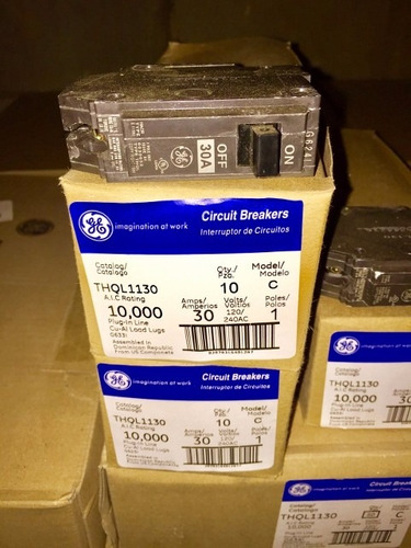 caja de 10 breaker thql 1x15, 1x20, 1x30 general electric