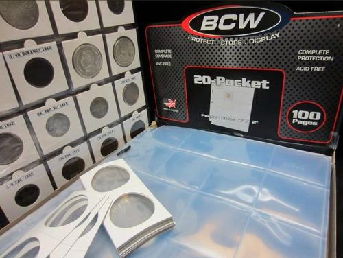 caja de 100 micas marca b c w para 20 monedas encartonadas