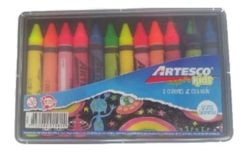 caja de 12 crayones cera jumbo neon artesco 12 cajas