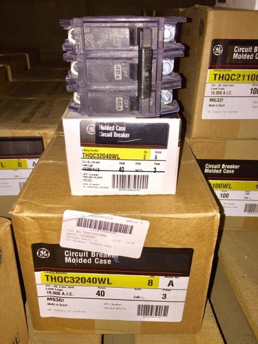 caja de 2 breaker thqc 3x40, 3x50, 3x60 general electric