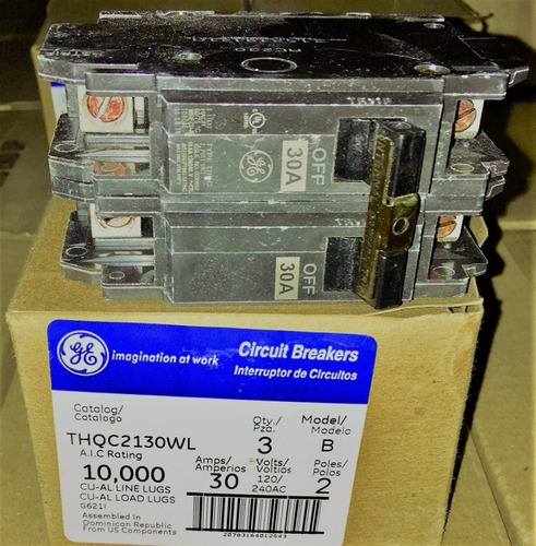 caja de 3 breaker thqc 2x20, 2x30 2x40 general electric