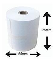 caja de 50 rollos en papel bond  75 x 65 mm   blancos