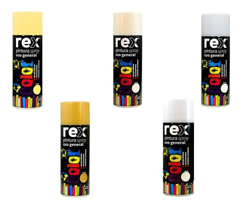 caja de 6 rex pintura spray general colores varios 400 ml