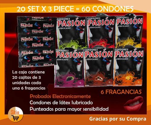 caja de 60 condones pasión 20 sobres individual d 3 cada uno
