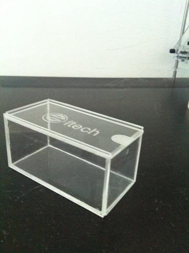caja de acrílico con tapa corrediza
