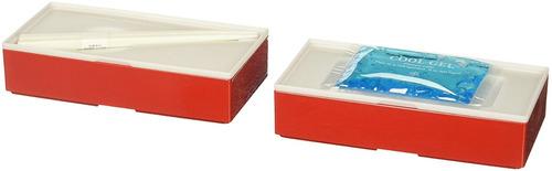 caja de bento en forma de bloque hecha en japón (rojo)