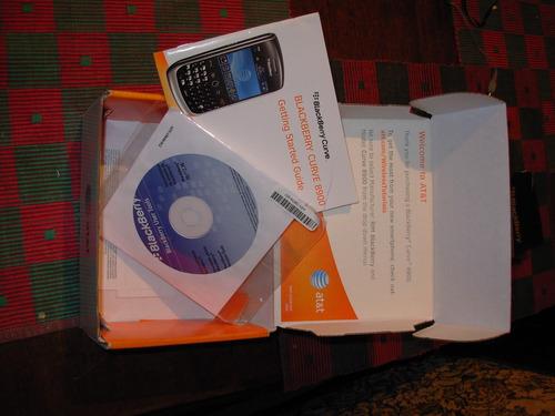 caja de blackberry 8900 javelin con manual cd de instalación