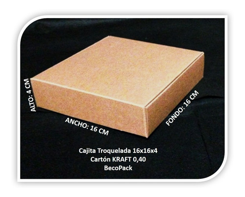 caja de cartón kraft 0.40, troquelada. tamaño: 16x16x4 cm