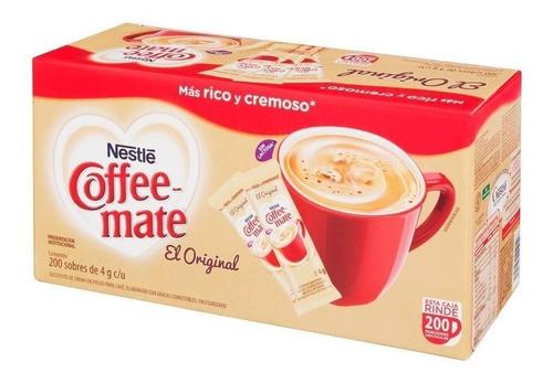 caja de coffee mate original stick con 200 sobres de 4 gramo