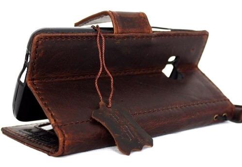 caja de cuero genuino para htc uno real m9 libro lujo de car