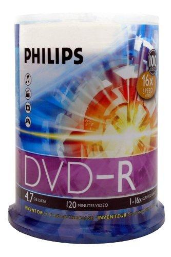 caja de dvd virgen philips 4.7gb 16x set x 100 und