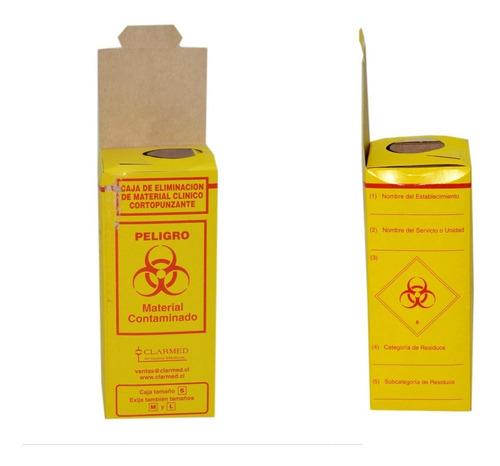 caja de eliminacion material cortopunzante amarillo chica
