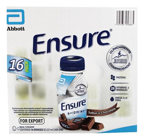 caja de ensure sabor chocolate 16 piezas de 237 ml c/u