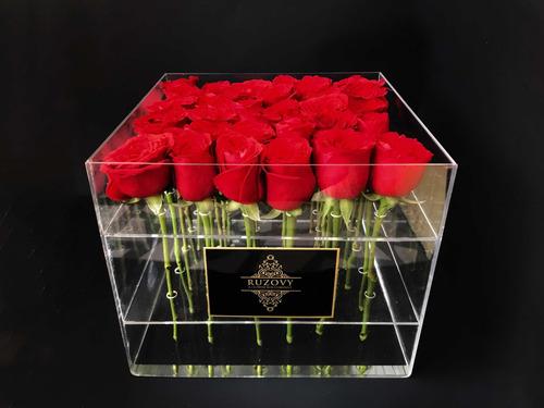 caja de flores de acrílico