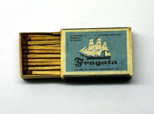 caja de fosforos fragata madera completa sin uso
