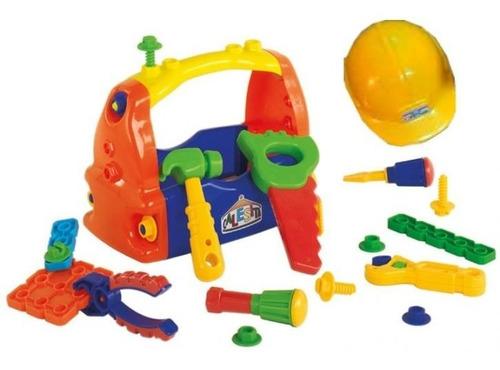 caja de herramientas con casco de juguete calesita rivaplast