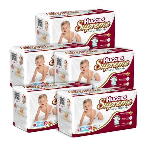 caja de huggies supreme p&n e3 niño 5 paquetes - 180 pa...