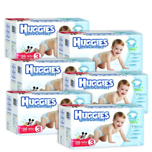 caja de huggies ultraconfort e3 niño 6 paquetes - 216 pañ