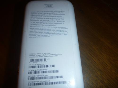 caja de iphone 5c blue/azul 16gb con sacachip y stickers