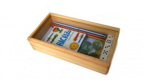 caja de juegos clap naipes palitos chinos dados