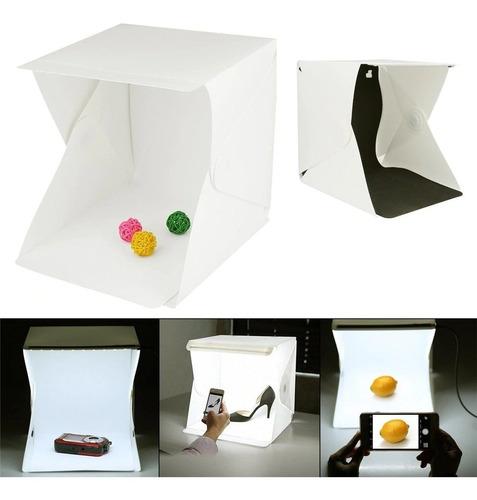 caja de luz 23x23 cm 2 tiras led 2 fondo estudio fotografico