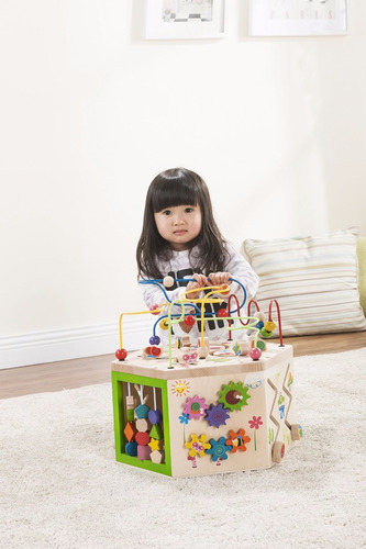 caja de madera actividades bebe laberinto estimulacion