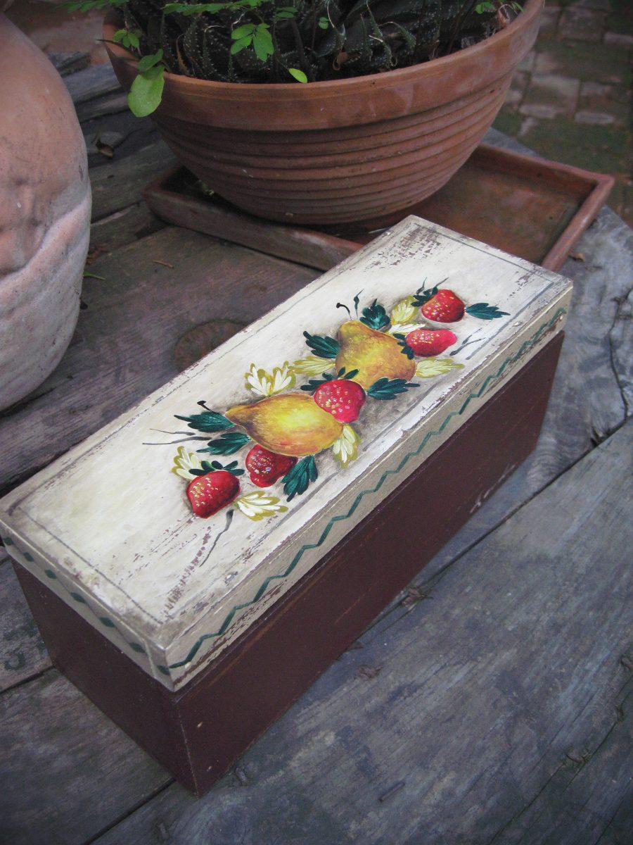 Caja de madera caja de te pintada a mano vintage - Donde conseguir cajas de madera ...