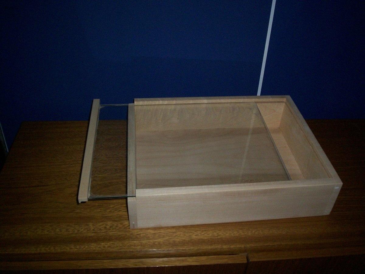 Caja De Madera Con Tapa Corrediza De Vidrio 380 00 En Mercado  ~ Cajas De Madera Con Tapa De Cristal