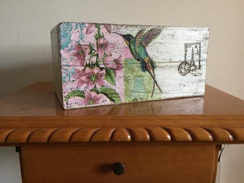 caja de madera decorada decoupage