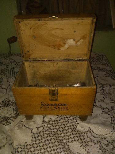 caja de madera limpiar zapatos