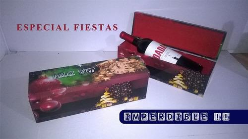 caja de madera personalizada con bebida!! (sidra)