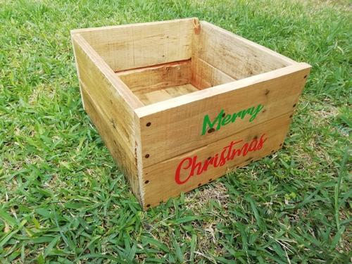 caja de madera reciclada merry christmas