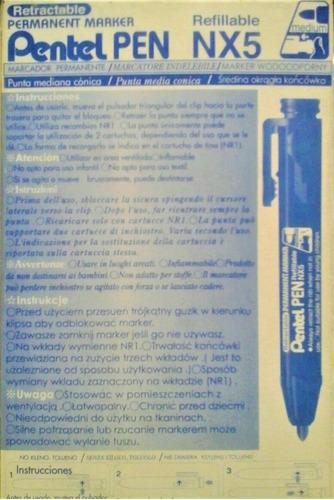caja de marcadores pentel retráctil punta redonda azul 12