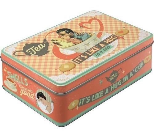 caja de metal plana nostalgic-art® tea it's like a hug
