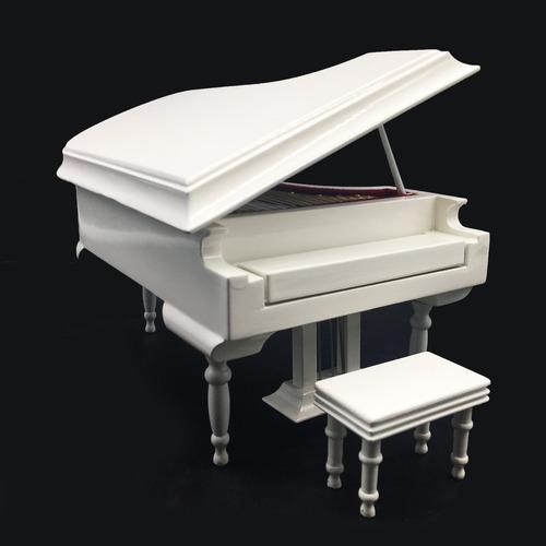 caja de música de piano blanco con banco y estuche negr...