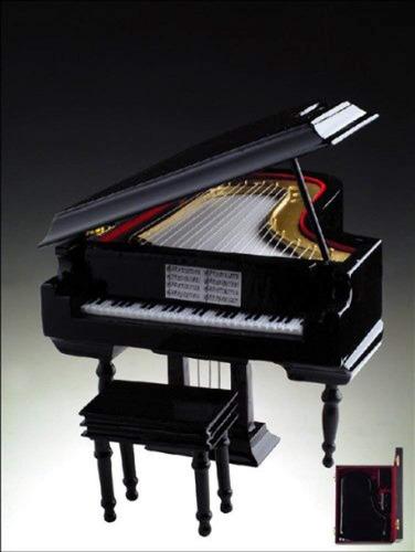 caja de música para piano de cola negra de madera 18 nota...