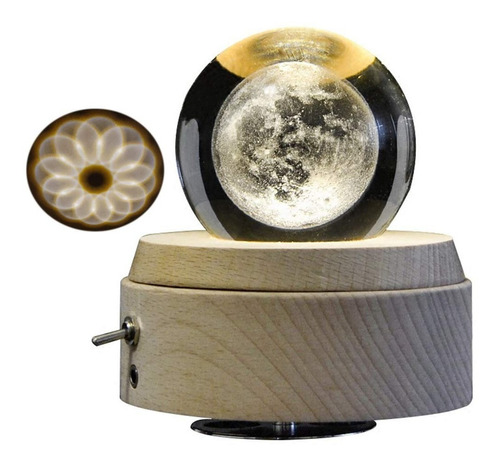 caja de música vintage lunar 3d colecciona giratoria amperer