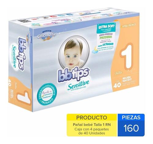 caja de pañal bbtips sensitive t1 recién nacido 4 paquetes