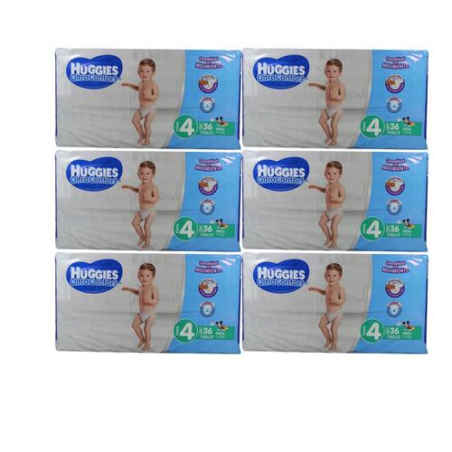caja de pañal huggies niño e4 con 6 paquetes (216 pzas)