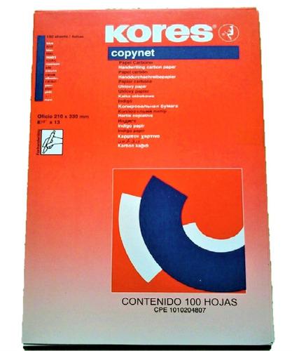 caja de papel carbon t. oficio kores color azul