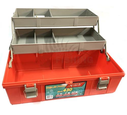 caja de pesca mauri 430 l con 2 bandejas maletín de pesca