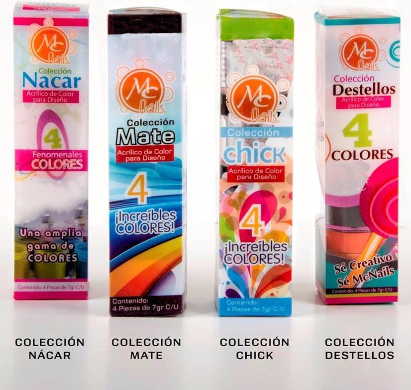 Caja De Polvo Acrílico 4 Pz C/u Mc Nails - $ 95.00 en Mercado Libre