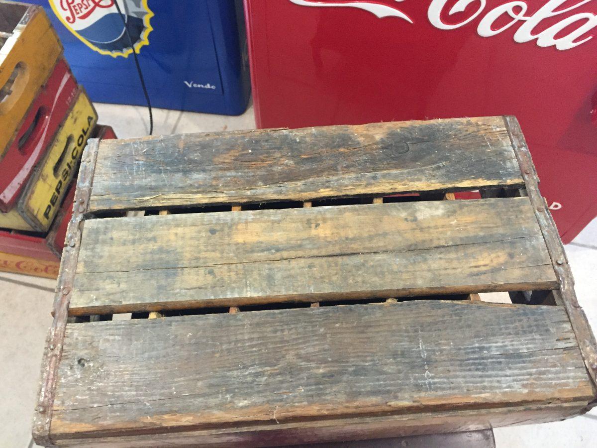 Caja de refrescos doble cola rara de madera antigua - Caja madera antigua ...