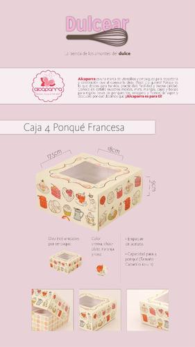 caja de regalos para 4 ponquecitos cupcake model francesa