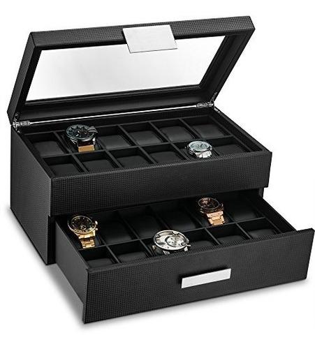 caja de reloj con cajon de valet para hombre organizador de