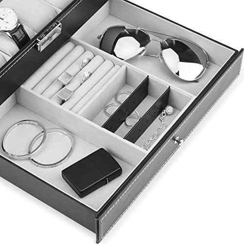 caja de reloj juns, 12 ranuras organizador de caja de cuero